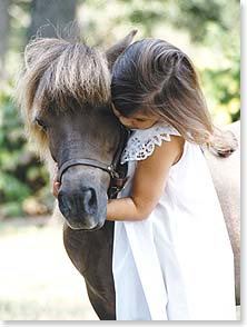 Friendship Card Leanin' Tree Greeting Card This Hugs For You Little Girl with Pony Miniature Horse Christina Bynum Photo