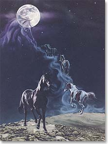 Motivational Inspirational Card Leanin' Tree Greeting Card The Legend Paint Horses Black Horse Card Kim McElroy