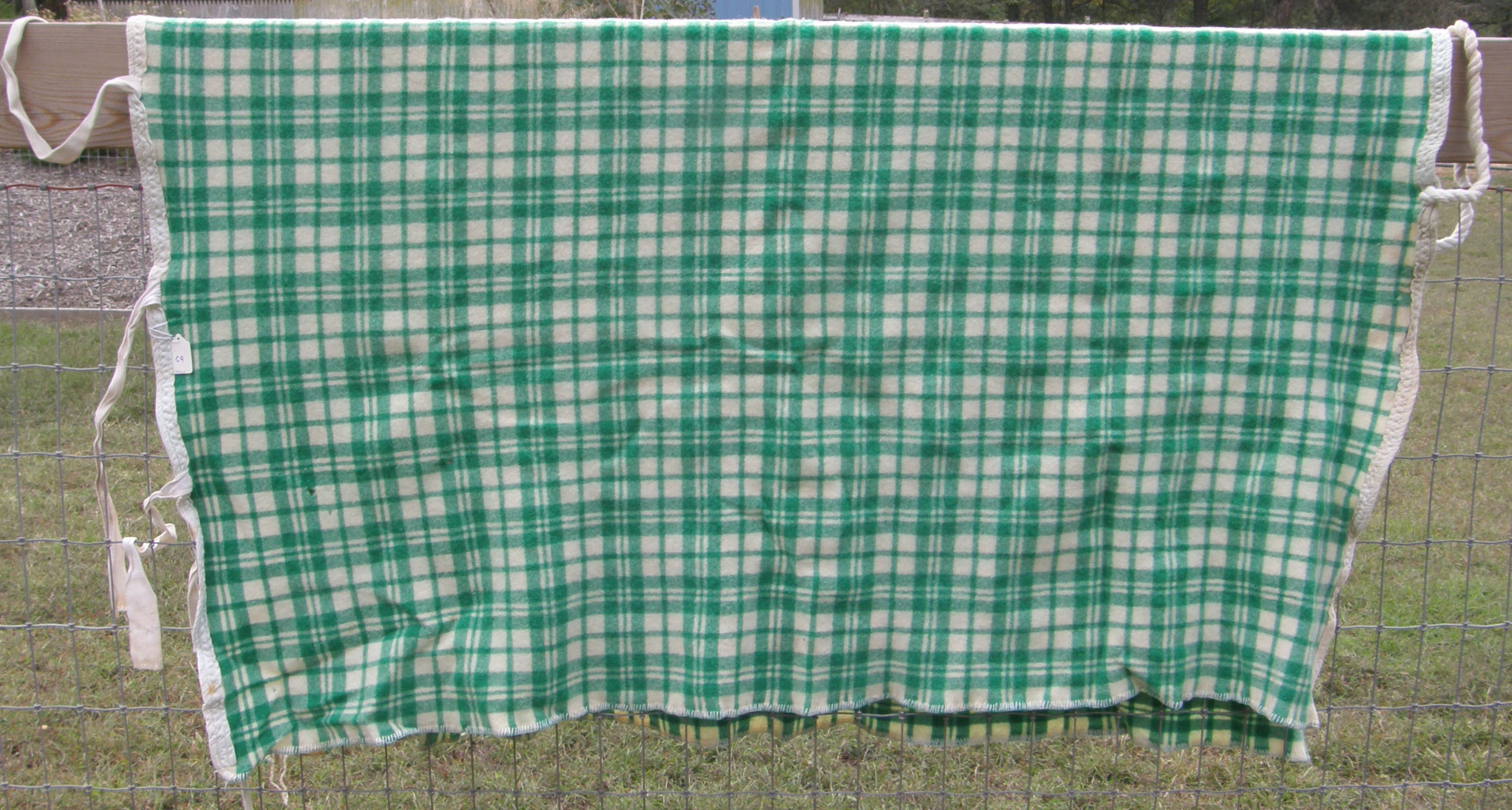 Wool/Acrylic Blend Cooler Pony S Horse Green/White Plaid