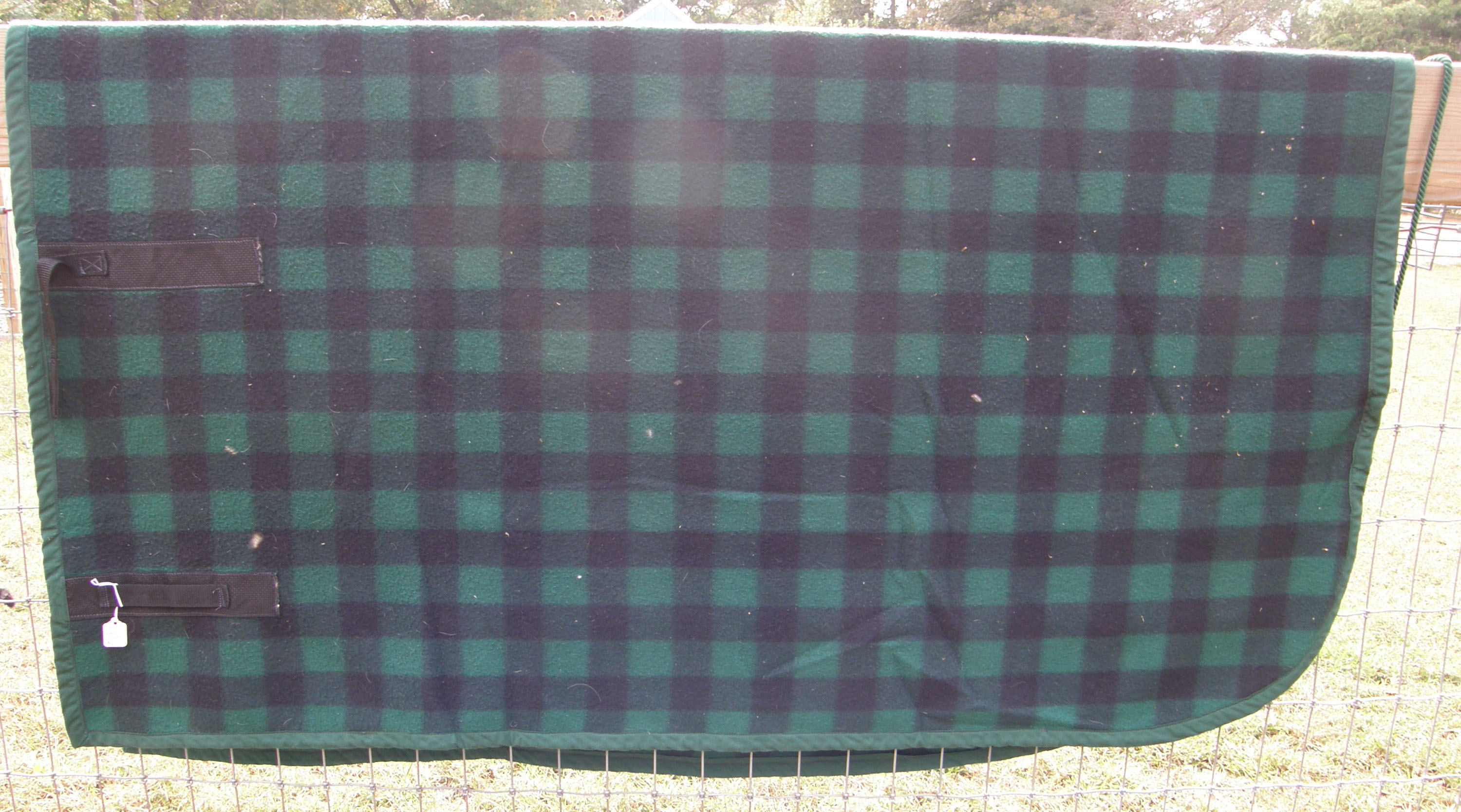 Polar Fleece Quarter Sheet Exercise Sheet Horse Green/Black Plaid