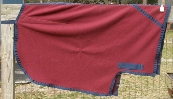 Jacks Polar Fleece Quarter Sheet Exercise Rug Competition Sheet Horse Burgundy/Navy Blue
