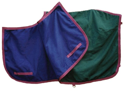 PRI Continental Polar Fleece Riding Quarter Sheet Reversible Fleece Exercise Rug Exercise Sheet M Horse Navy Blue/Hunter Green