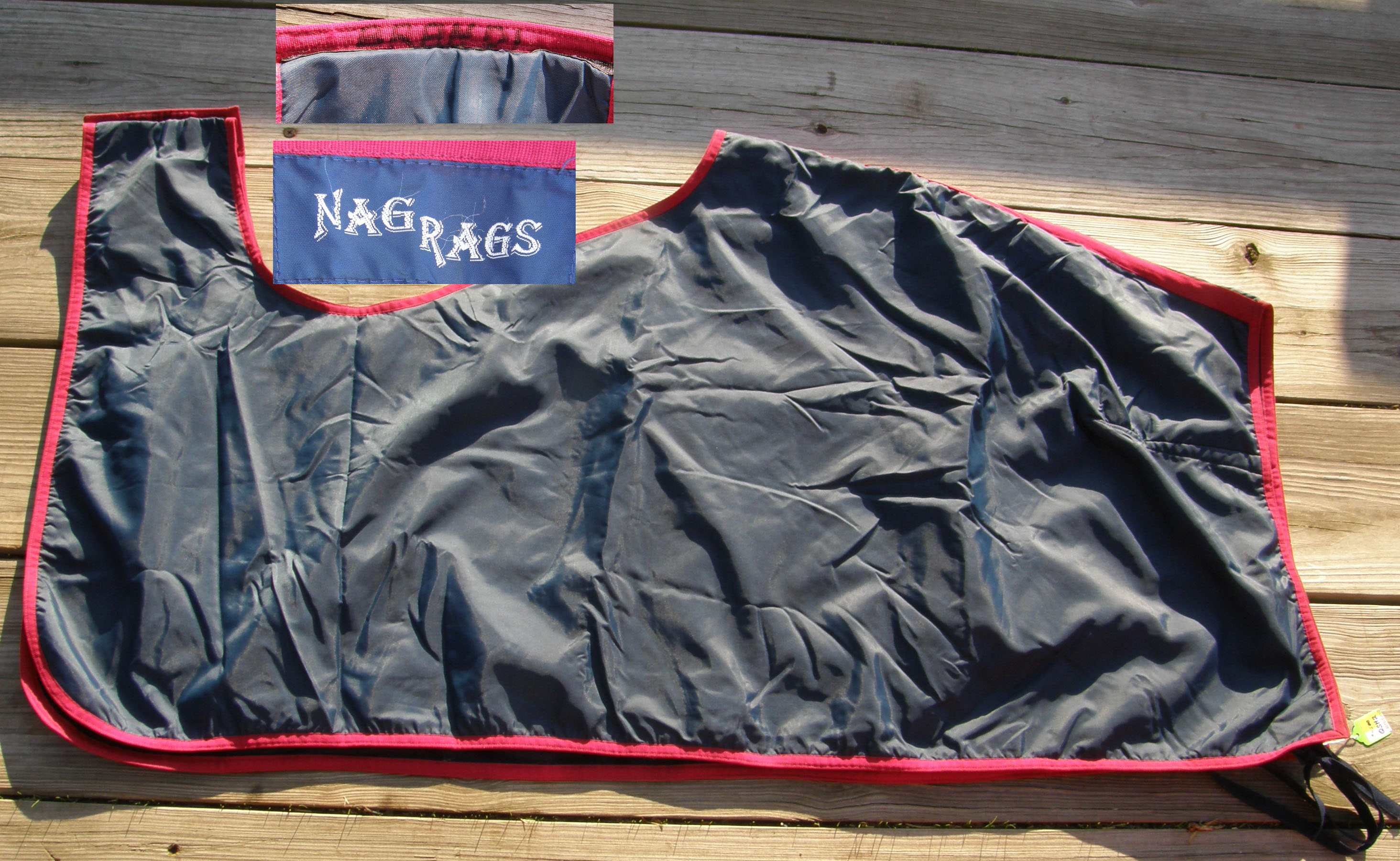 Nag Rags Polar Fleece Lined Nylon Exercise Rug Quarter Sheet Horse Navy Blue/Burgundy