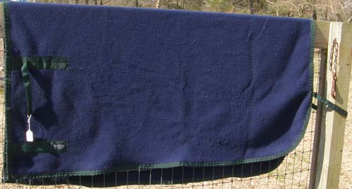 Dover Riders Polar Fleece Quarter Sheet Exercise Sheet Exercise Rug Horse Navy Blue/Hunter Green