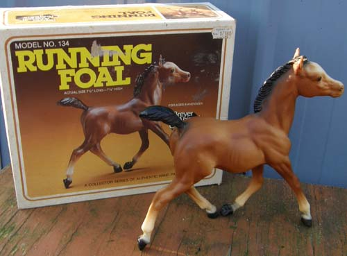 Breyer #134 Bay Running Foal with Old Cardboard Picture Box
