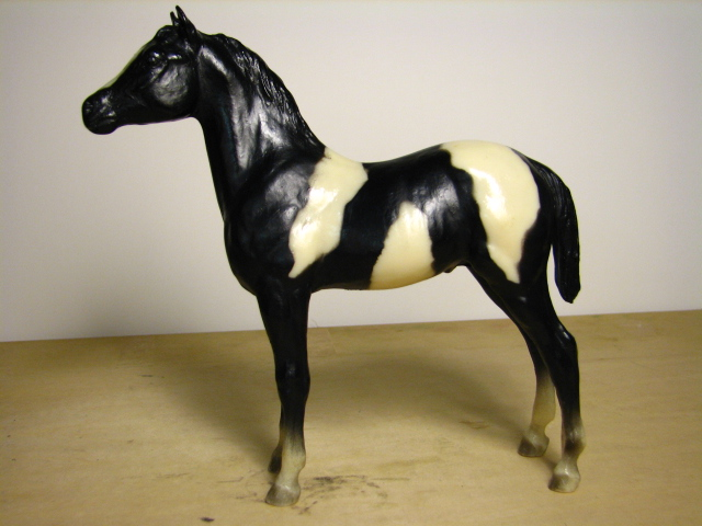Breyer #231 Black Pinto Stock Horse Foal Standing Stock Horse Foal Black Paint Overo Stock Foal SHF in Vintage Old Cardboard Picture Box