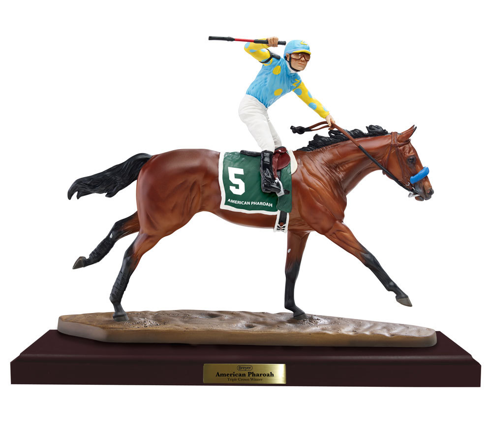 Breyer Horse #9180 American Pharoah Artists Resin Porcelain Racehorse & Jockey on Base Bay TB Race Horse