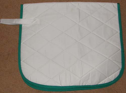 SLT Straight Front Event Style Square Dressage Pad Quilted Cotton English Saddle Pad White/Green