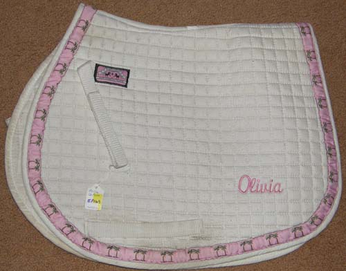 Equine Couture Quilted Cotton Pony Pad Event Pad English Saddle Pad White/Pink Trim