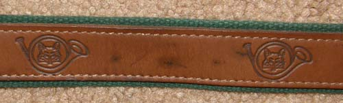 "Tory Leather Web Belt English Belt Tooled Leather Fox Hunting Horn Belt with Brass Buckle 30"" Brown Hunter Green Web"