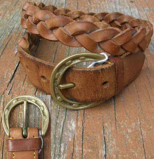 "Vintage? Braided Leather Belt with Buckle Plaited Leather English Belt Brass Horseshoe Buckle 28"" Tan Lt Brown"