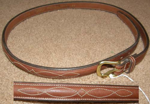 "Tory 3/4"" Raised Bridle Leather Belt with Fancy Bridle Stitching Brass Buckle English Belt 32"""