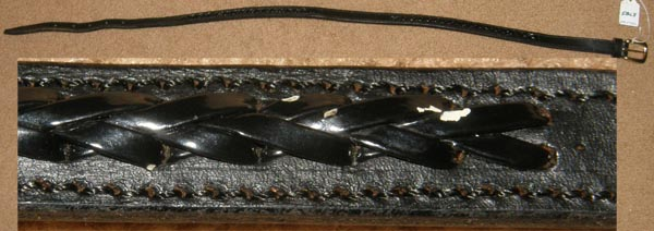 Black Leather Belt with Brass Buckle Braided Laced Center English Belt 31""