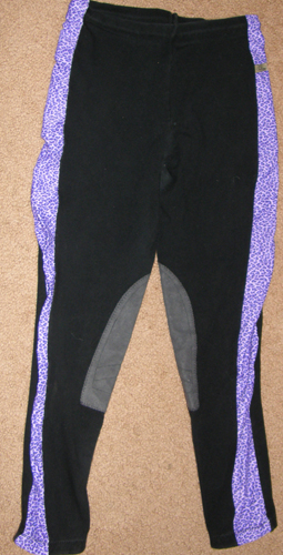 Devon Aire Hoofbeats Pull On Schooling Tights Knee Patch English Breeches Riding Pants Childs/Ladies? M Black/Purple Leopard