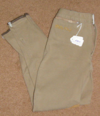 Ma-Nu Ribbed Knee Patch Breeches English Breeches Riding Pants Childs M Tan