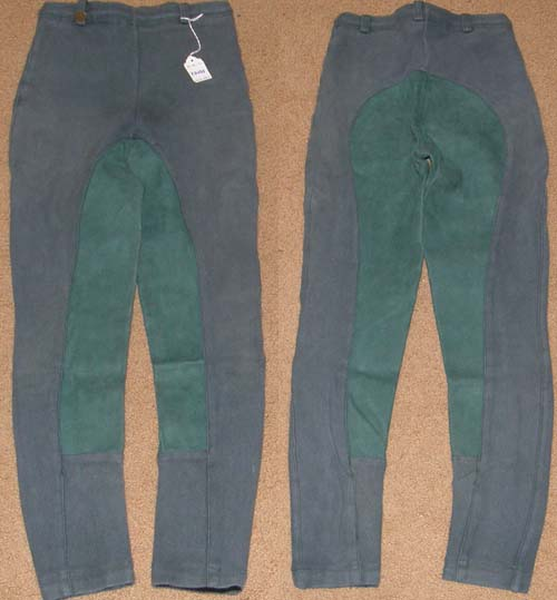 On Course Cotton Pull On Jodhpur Breeches Full Seat English Breeches Riding Pants Childs M Dark Green