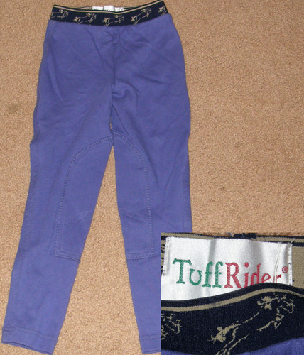 Tuff Rider Pull On Schooling Tights TuffRider Knee Patch English Breeches Riding Pants Childs S Purple