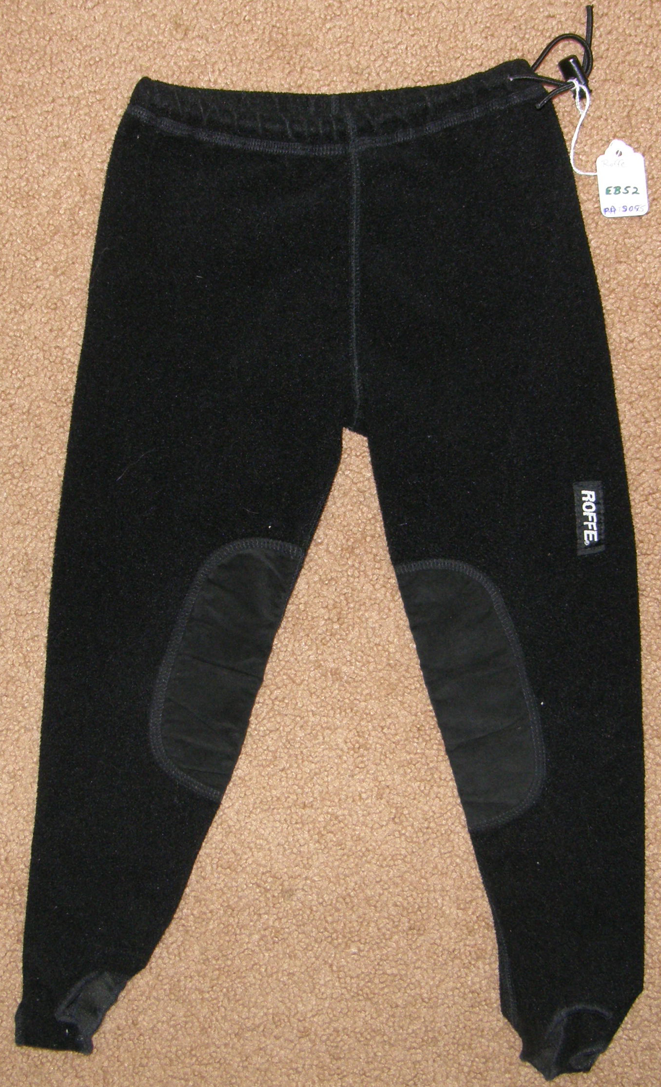 Roffe Fleece Pull On Breeches Schooling Tights Knee Patch English Breeches Winter Riding Pants Childs S Black