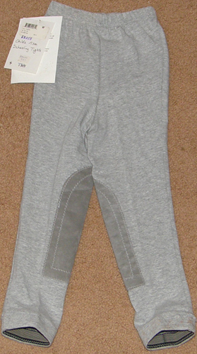 Millers Pull On Schooling Tights Knee Patch English Breeches Riding Pants Toddler Childs XS Grey
