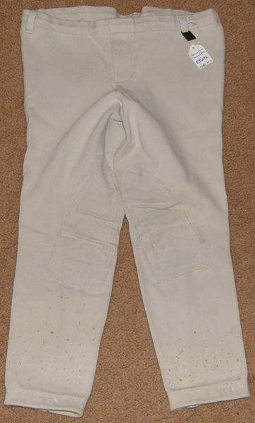 Devon Aire Concour Elite Pull On Jodhpur Breeches Knee Patch English Breeches Riding Pants Childs XL Lt Grey