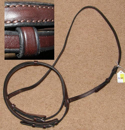 Black Lined Padded English Caveson with Flash Noseband Attachment Brown O/S WB XL Horse