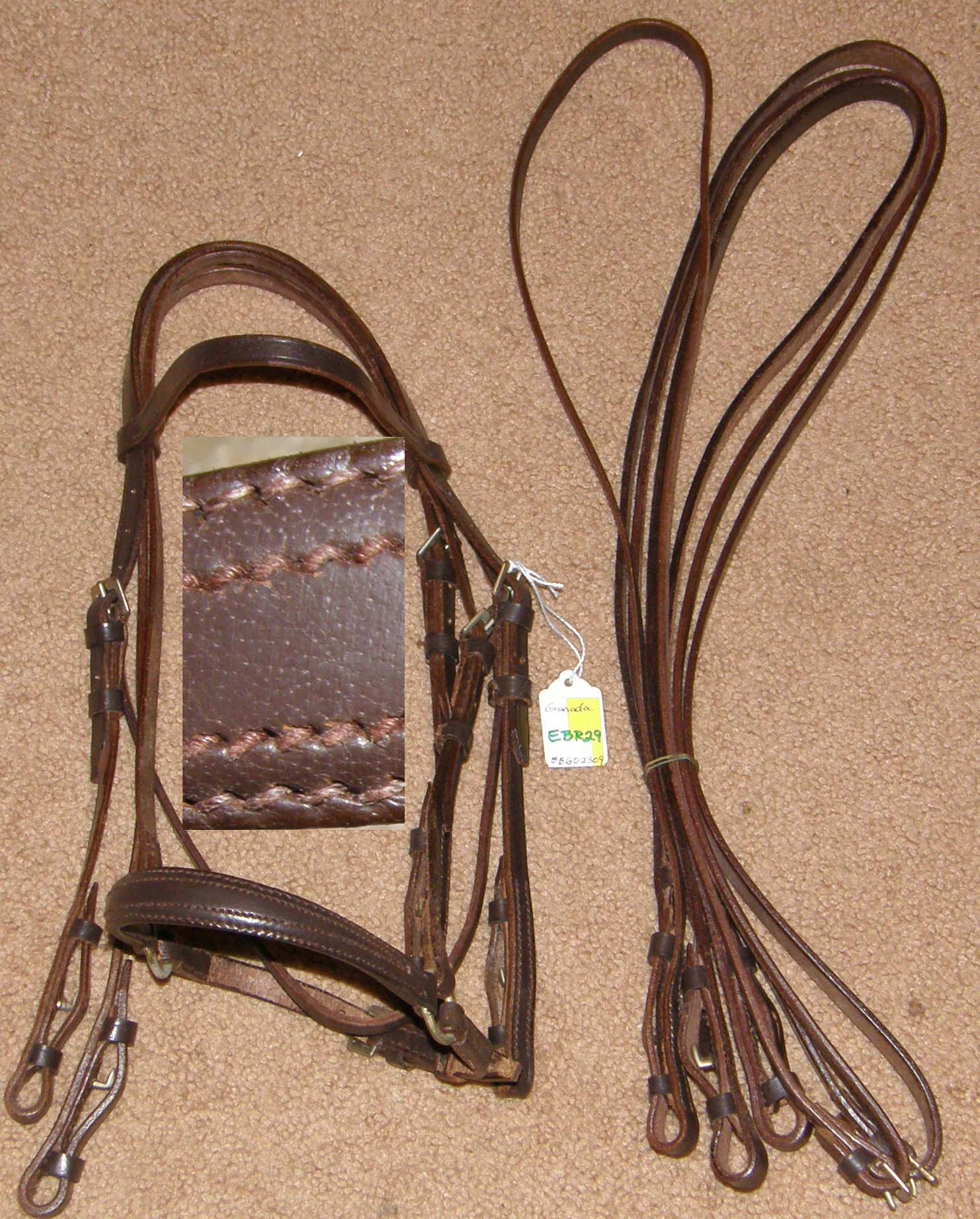 Millers Granada Raised Pelham Bridle English Bridle with Snaffle & Curb Reins Pony