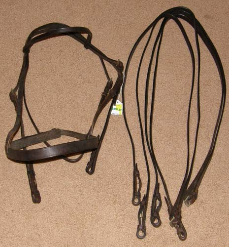 Millers Granada Flat Pelham Bridle English Bridle with Snaffle & Curb Reins Cob