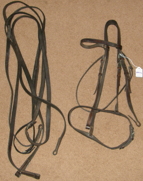 Vintage English Pelham Bridle Horse Flat English Bridle with Flat Reins Dark Brown Horse