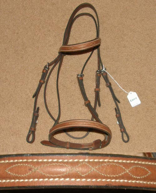 Fancy Round Raised Snaffle Bridle English Headstall Dark Chestnut Cob