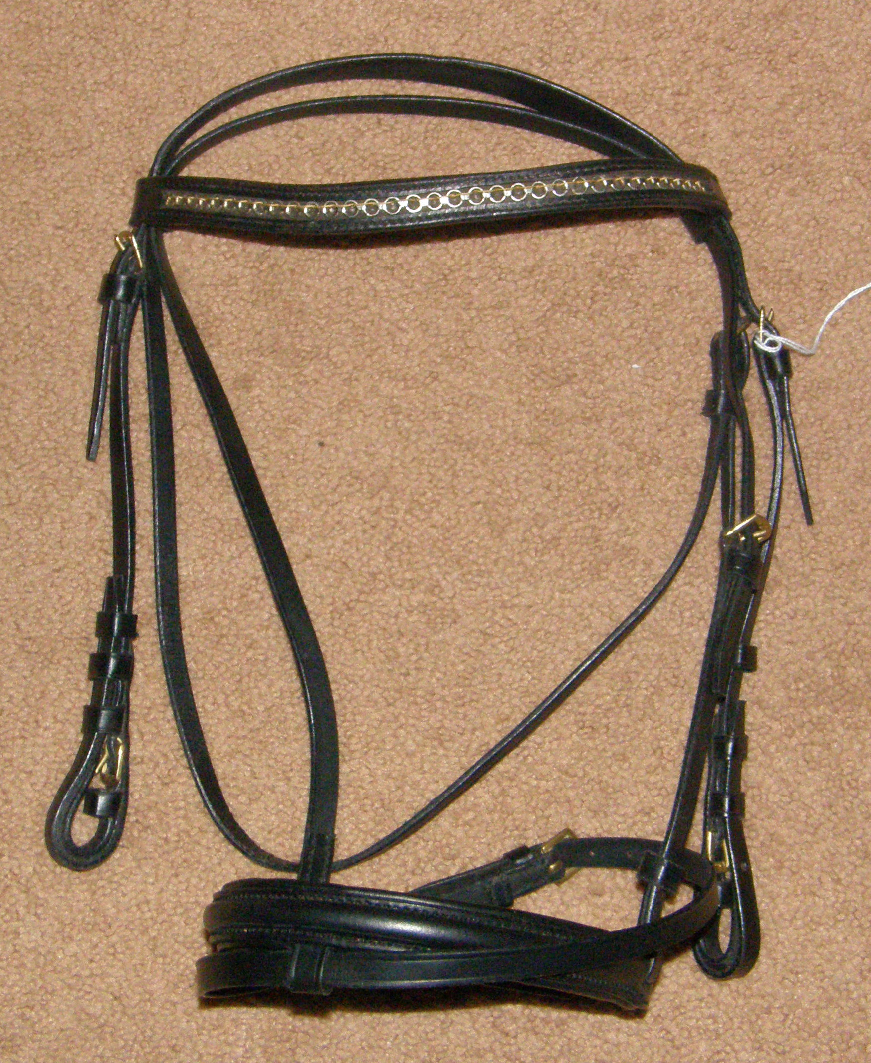 Schou Equestrian Round Raised English Headstall Brass Clincher Bridle with Flash Attachment English Snaffle Bridle Black Dressage Bridle Pony Cob