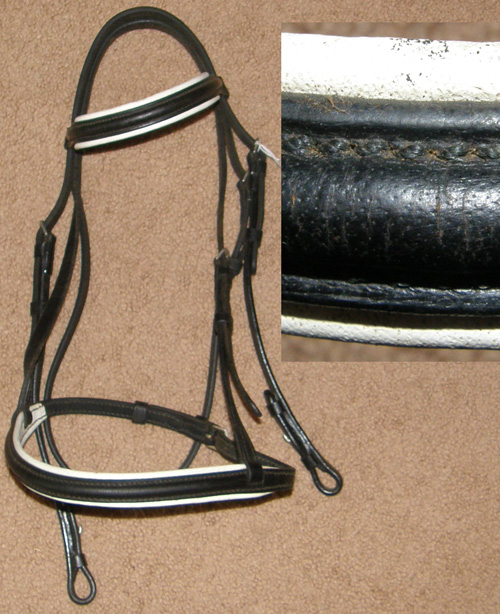 English Headstall Padded Round Raised Black Snaffle Bridle English Bridle White Leather Lined Dressage Bridle