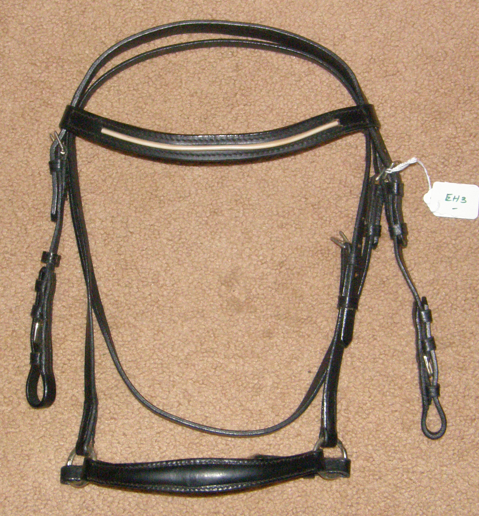 English Headstall White Piping Browband Round Raised Drop Noseband Black Pony