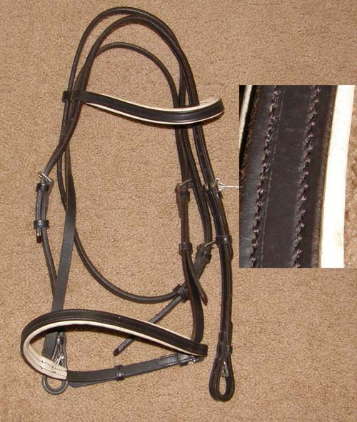 Padded White Leather Lined Brown Snaffle Bridle English Bridle Dressage Bridle English Headstall Cob