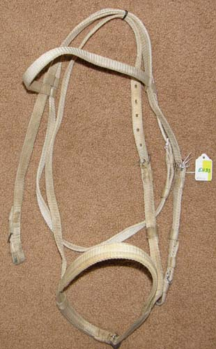 White Nylon Racing Bridle Racing Headstall English Headstall with Caveson English Bridle Horse