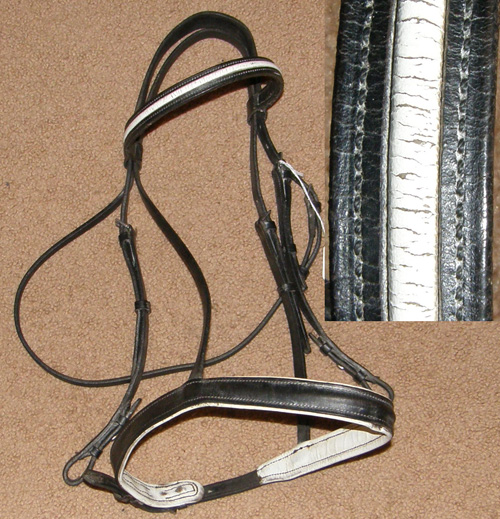 Padded Raised Black English Headstall Snaffle Bridle English Bridle White Leather Lined Dressage Bridle Horse