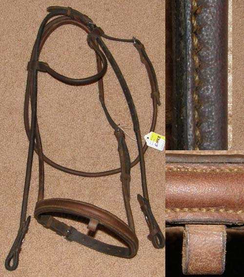 Round Rolled Leather English Headstall Round Raised English Bridle Snaffle Bridle Horse