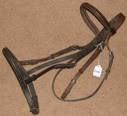 Fancy Stitched Round Raised English Headstall Snaffle Bridle Cob English Bridle Brown