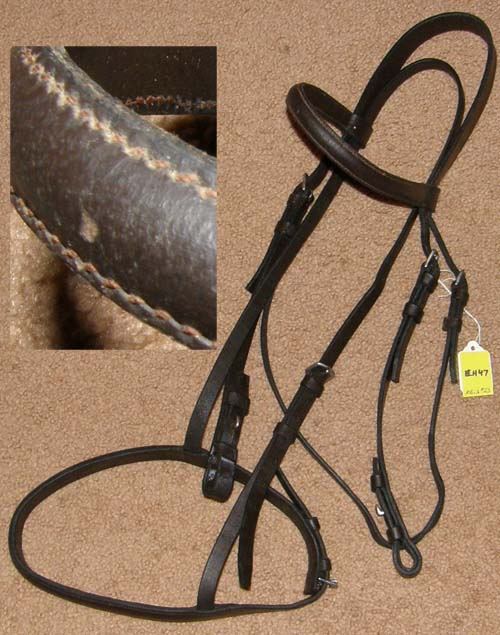 Round Raised English Headstall Snaffle Bridle Horse English Headstall Dark Brown