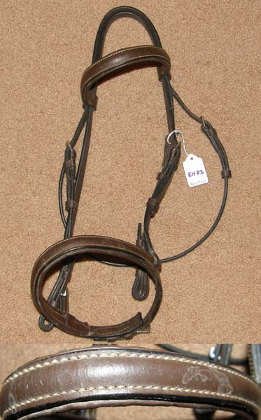 Padded Round Raised English Headstall English Bridle Snaffle Bridle Dark Brown Cob
