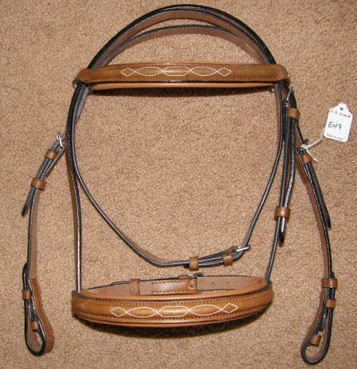 DA Fancy Raised Padded Pony Snaffle Bridle Leather Lined English Headstall Tan/Chestnut