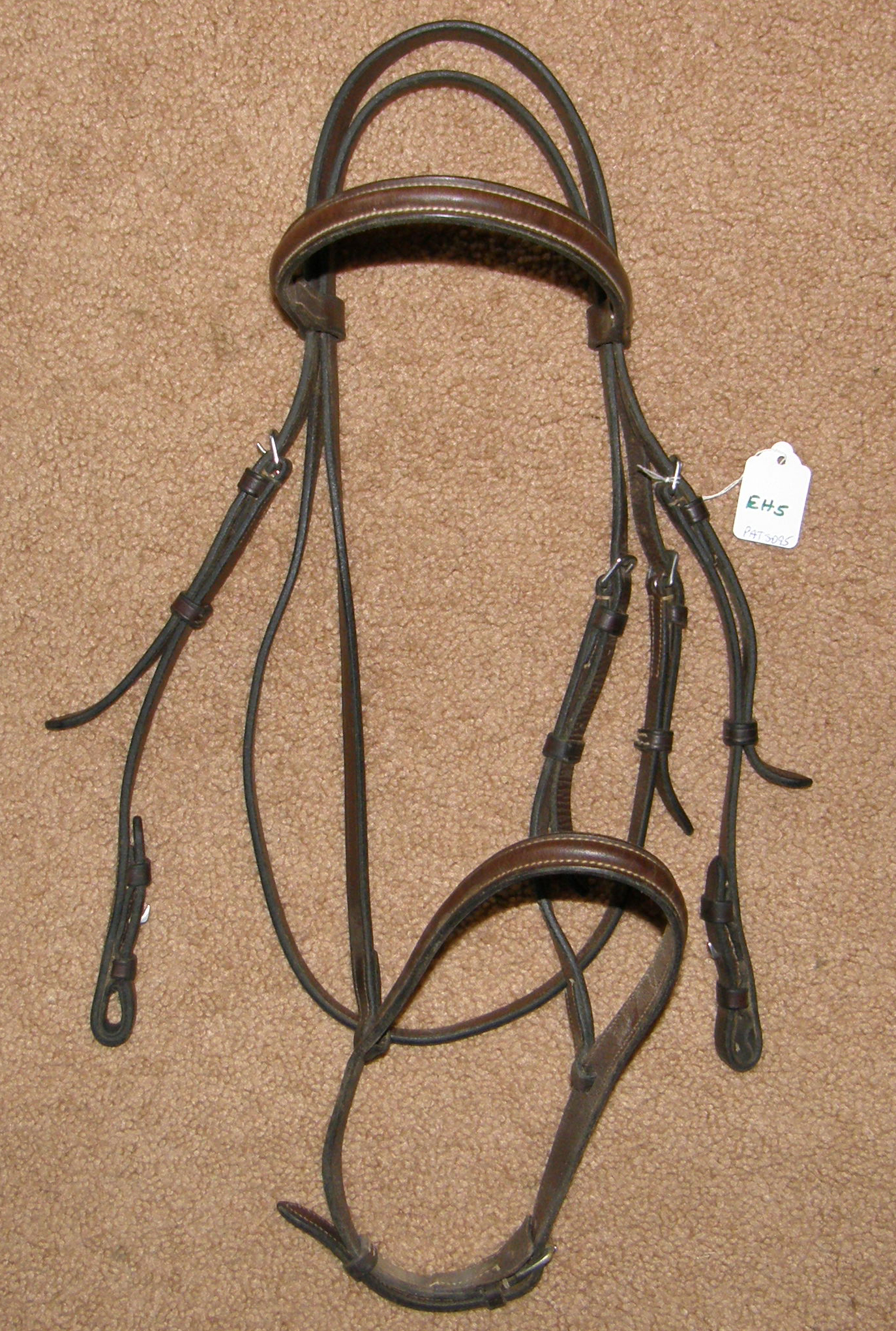 Round Raised English Headstall English Snaffle Bridle