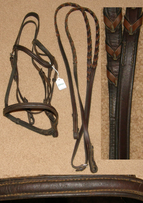 Round Raised Snaffle Bridle English Bridle with Laced Reins Havana Dark Brown Cob