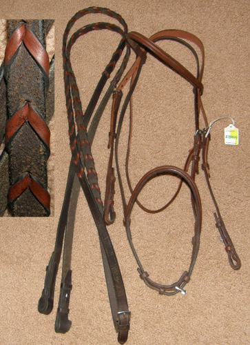 Weaver Leather Round Raised Snaffle Bridle English Bridle with Laced Reins Havana Horse