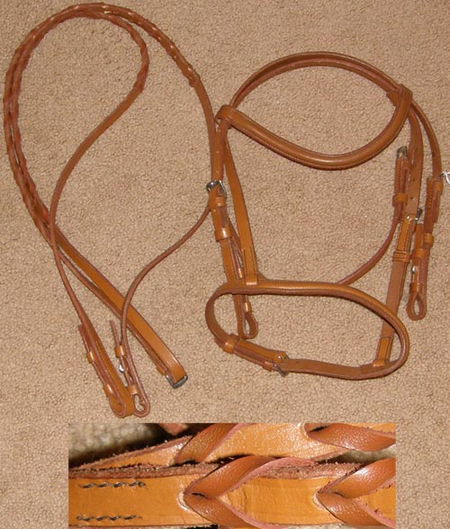 Deluxe Round Raised English Bridle Snaffle Bridle Laced Reins Lt Oil Chestnut Pony L Mini Horse