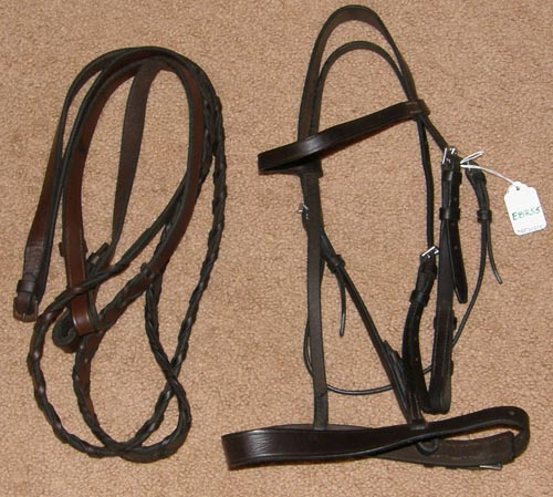 Flat Snaffle Bridle English Bridle Laced Reins Dark Brown Pony Cob Bridle