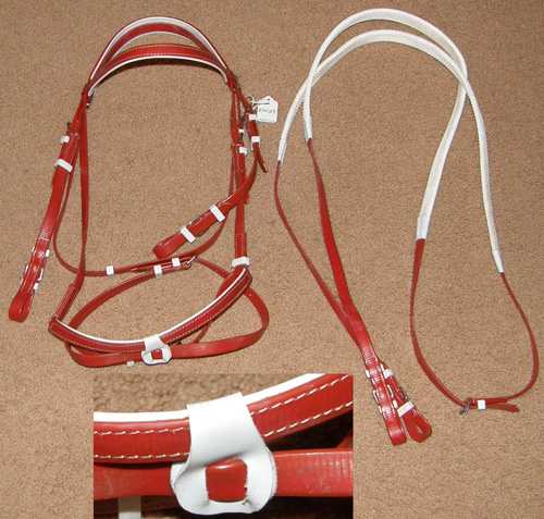 TB Racing Bridle Synthetic Race Bridle with Rubber Reins Thoroughbred Racing Bridle Hinged Flash Noseband Attachment Beta Biothane Race Bridle Red White Horse