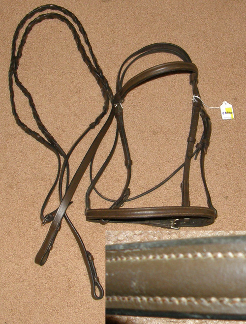 Crosby? Round Raised Snaffle Bridle English Bridle with Laced Reins Dark Brown Horse