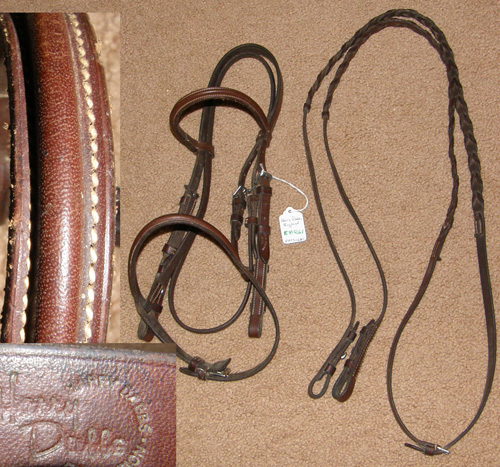 Harry Dabbs Round Raised Snaffle Bridle Leather English Bridle with Laced Reins Brown Pony Bridle