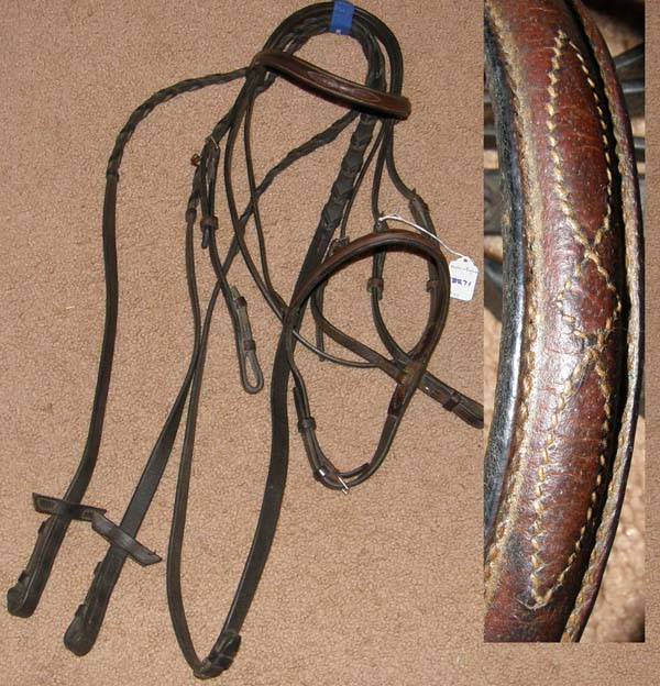 Crosby? Fancy Stitched Round Raised Snaffle Bridle English Bridle with Laced Reins Rein Stops Dark Brown Cob