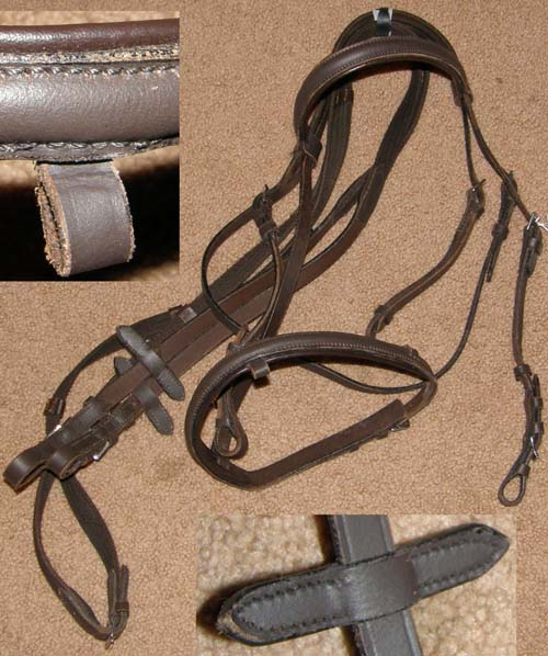 Round Raised Snaffle Bridle Flash Noseband Leather Lined Padded English Bridle with Web Reins Brown Cob
